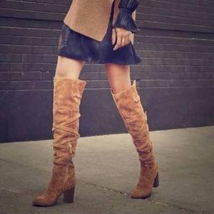 SAM EDELMAN Sable Tall Leather Suede Buckle OTK